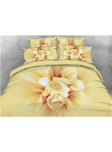 Photographic Bright Floral 3D Print 4-Piece Duvet Cover Sets