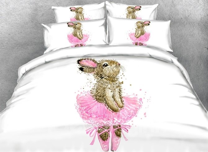 3D Bunny in a Pink Dress Printed Cotton 4-Piece White Bedding Sets