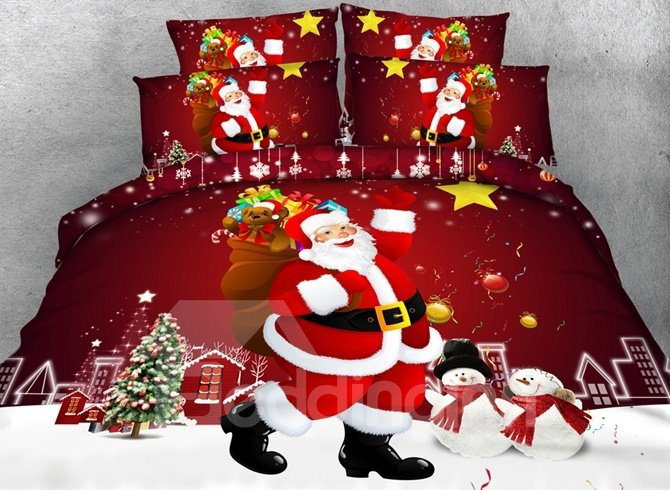 Christmas Santa Claus Printed Cotton 4-Piece 3D Red Bedding Sets/Duvet Covers