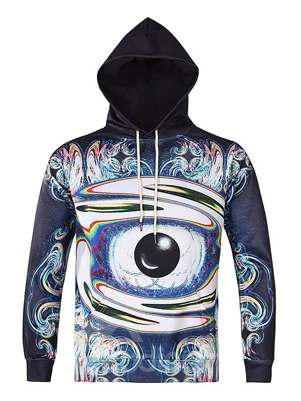 Long Sleeve Abstract Eye Pattern 3D Painted Hoodie