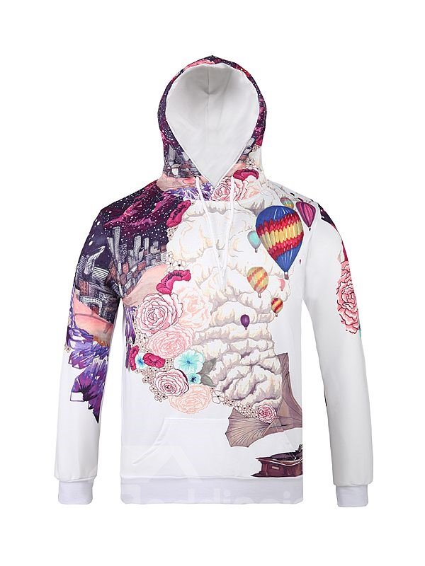 Long Sleeve Special Sound Machine Pattern 3D Painted Hoodie