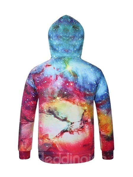 Fashion Multicolor Long Sleeve DIY Galaxy Pattern 3D Painted Hoodie