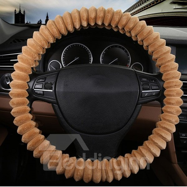Special Fold Style Design Comfortable Anti-Skid Warm Plush Car Steering Wheel Cover