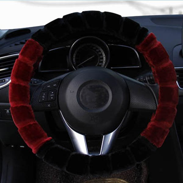 Magic Contrast Color Design High Cost-Effective Universal Plush Car Steering Wheel Cover