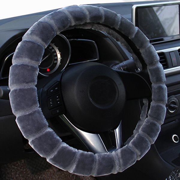 Comfortable Plush Material Winter Necessary Practical Car Steering Wheel Cover