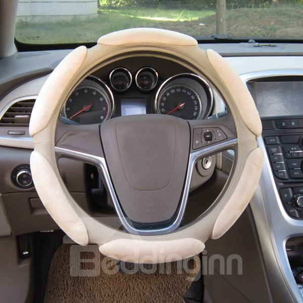 3D Stereo Charming Solid Color Warm Anti-Skid Universal Car Steering Wheel Cover