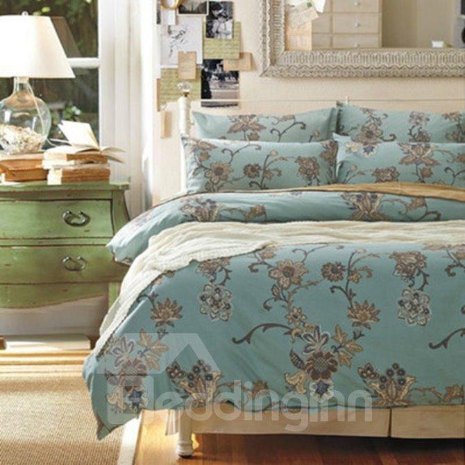 Retro Style JacobeanPrint Blue Brushed Cotton 4-Piece Duvet Cover Sets