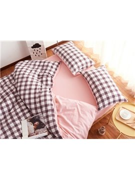 Concise Plaid Print Brushed Cotton 4-Piece Duvet Cover Sets