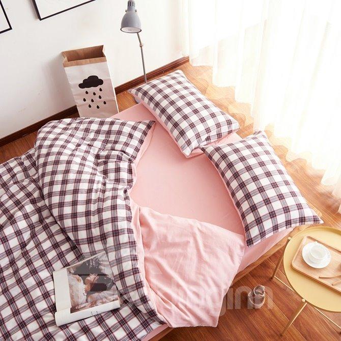 Concise Plaid Print Brushed Cotton 4-Piece Duvet Cover Sets