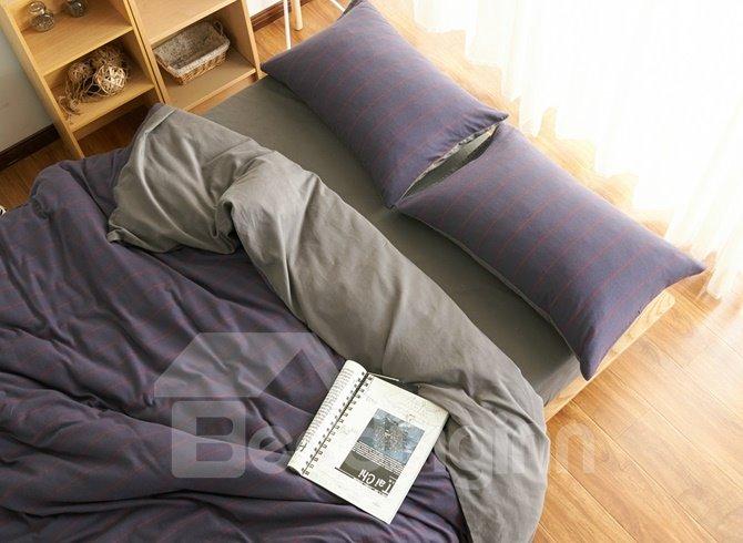 Neutral Style Stripe Print Brushed Cotton 4-Piece Duvet Cover Sets