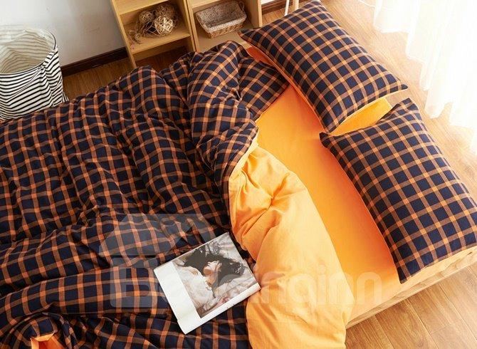 Ultra Soft Brushed Cotton Plaid Print 4-Piece Duvet Cover Sets
