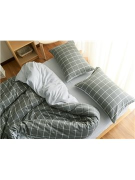 Fancy Brushed Cotton Gray Plaid 4-Piece Duvet Cover Sets