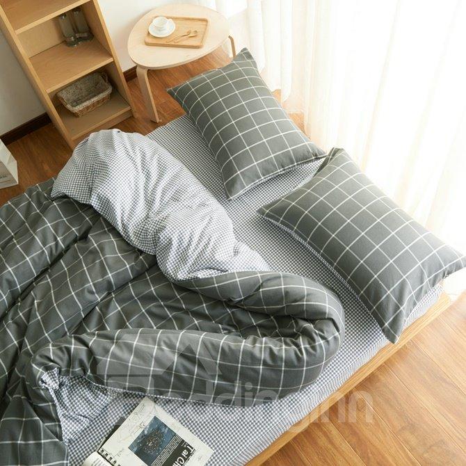 Fancy Brushed Cotton Gray Plaid 4-Piece Duvet Cover Sets