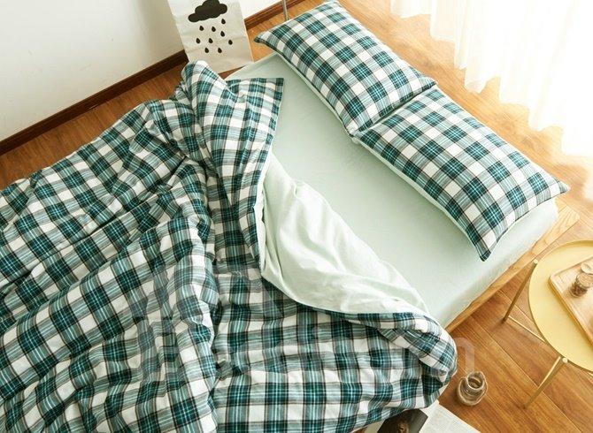 European Style Green Plaid Print 4-Piece Duvet Cover Sets
