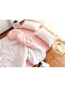 Soft Brushed Cotton Plaid 4-Piece Duvet Cover Sets