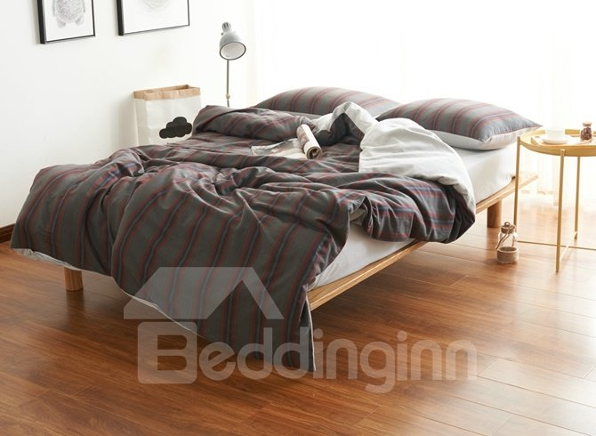 Fashion Brown Stripe Print Brushed Cotton 4-Piece Duvet Cover Sets