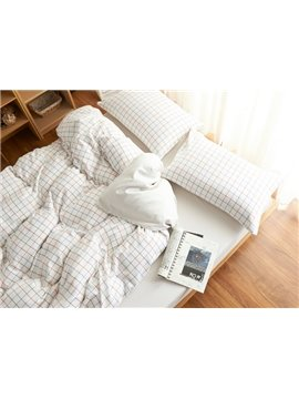 Minimalist Style White Plaid Print Brushed Cotton 4-Piece Duvet Cover Sets