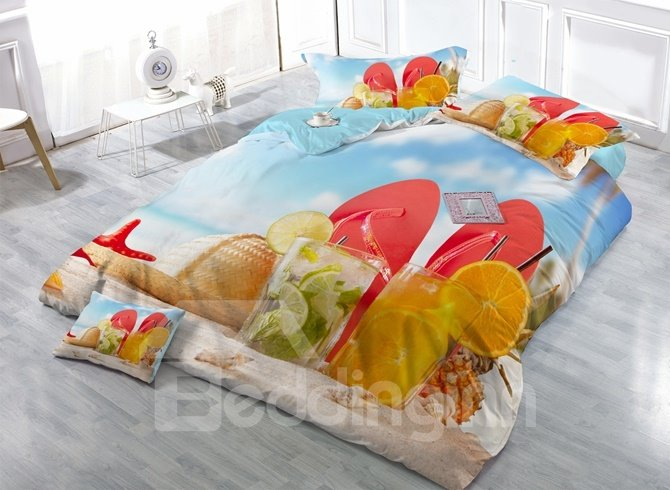 Relaxing Beach and Sea Scenery Print Satin Drill 4-Piece Duvet Cover Sets