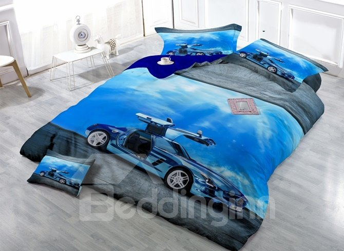 Luxury Car Print Satin Drill 4-Piece Duvet Cover Sets