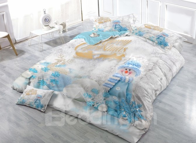 Adorable Snowman Print Satin Drill 4-Piece Duvet Cover Sets