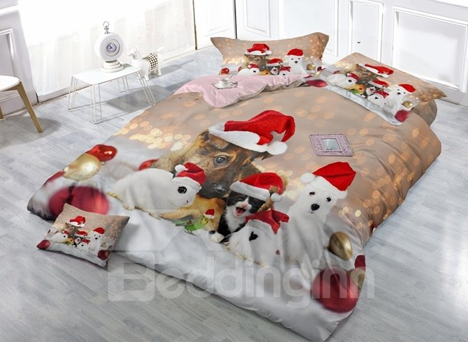 Small Animals with Christmas Hat Print Satin Drill 4-Piece Duvet Cover Sets