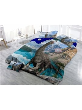 Unique Vivid 3D Dinosaur Print Satin Drill 4-Piece Duvet Cover Sets