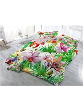 Pastoral Style Floral Satin Drill 4-Piece Duvet Cover Sets