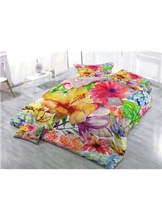 Excellent Watercolor Flower Print Satin Drill 4-Piece Duvet Cover Sets