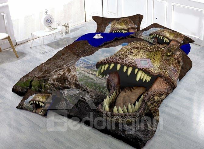 Unique Imperial Print Dinosaur Print Satin Drill 4-Piece Duvet Cover Sets