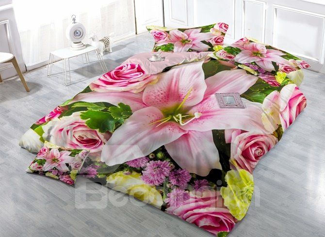 Fragrant Lily Print Satin Drill 4-Piece Duvet Cover Sets