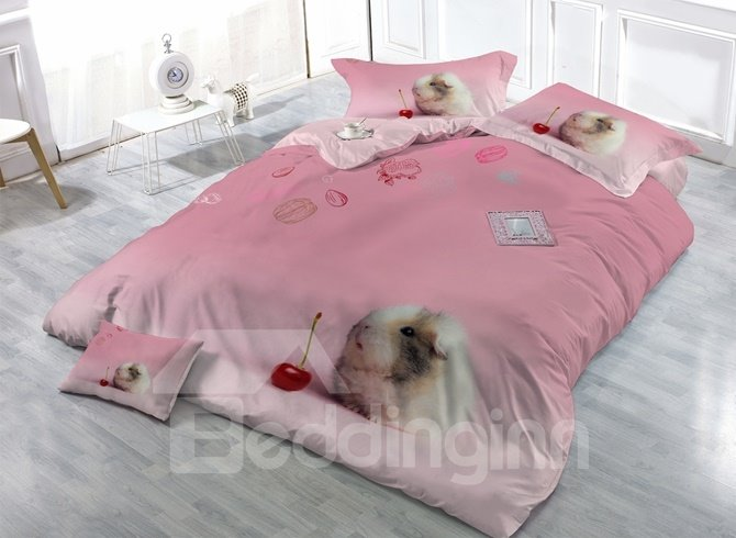Likable Bunny Print Satin Drill 4-Piece Duvet Cover Sets
