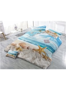 Shell and Starfish Print Satin Drill 4-Piece Duvet Cover Sets