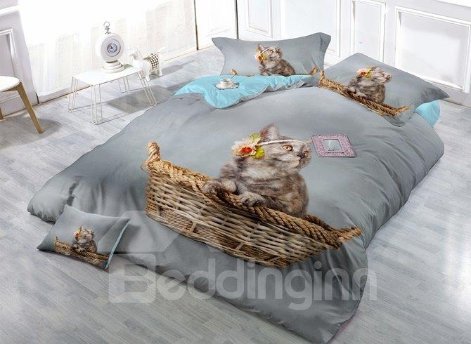 Lovely Little Kitty Print Satin Drill 4-Piece Duvet Cover Sets