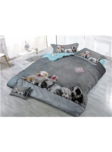 Cute Puppies Digital Printing Satin Drill 4-Piece Duvet Cover Sets