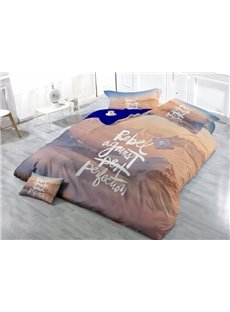Rebel Against Perfection Print Satin Drill 4-Piece Duvet Cover Sets