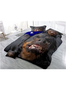 Angry Rottweiler Face Print Satin Drill 4-Piece Duvet Cover Sets