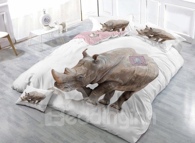 White Rhinoceros Digital Printing Satin Drill 4-Piece Duvet Cover Sets