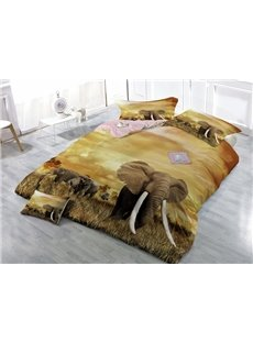 Vivid 3D Elephant Digital Printing Satin Drill 4-Piece Duvet Cover Sets