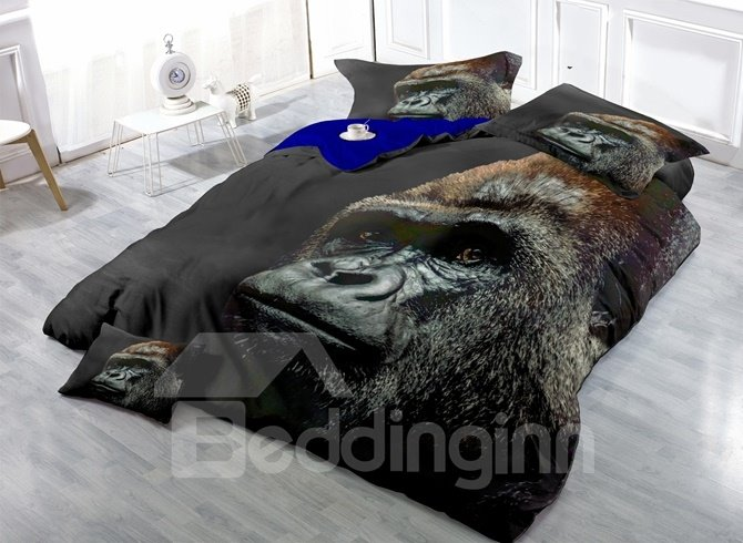Photographic Chimpanzee Print Satin Drill 4-Piece Duvet Cover Sets