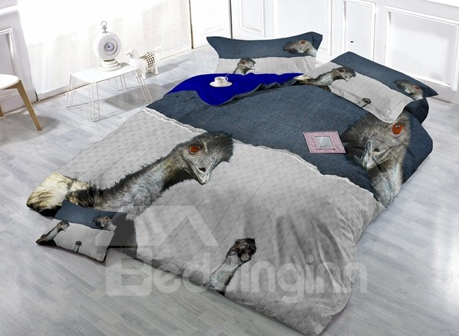 Fascinating Ostrich Print Satin Drill 4-Piece Duvet Cover Sets