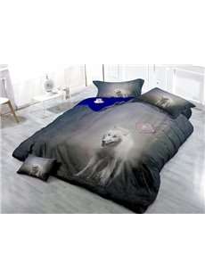Wild White Wolf in The Woods Print 4-Piece Duvet Cover Sets
