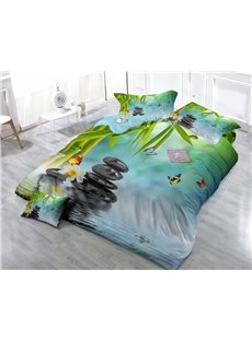 Bamboo and Cobblestone Print Satin Drill 4-Piece Duvet Cover Sets