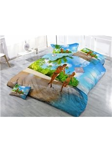 Tropical Honeymoon Vacation Print Satin Drill 4-Piece Duvet Cover Sets