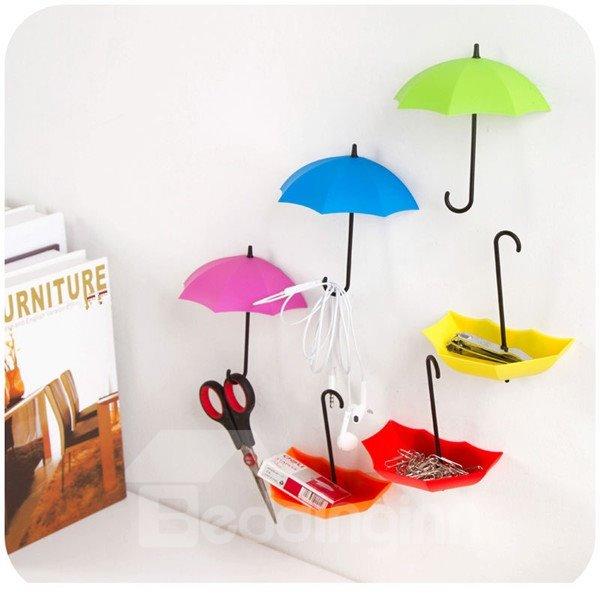 Cute Plastic Umbrella Shape 3 Pieces Home Decorative Wall Hooks