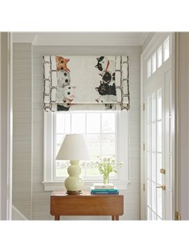 Lovely Colorful Cats Printing Flat-Shaped Roman Shades