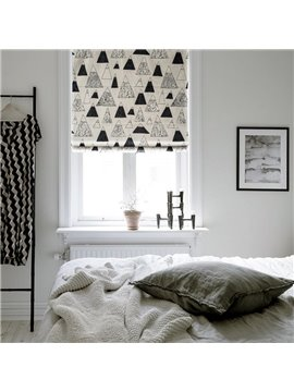Black and White Stick Figures Snow Mountain Printing Flat-Shaped Roman Shades