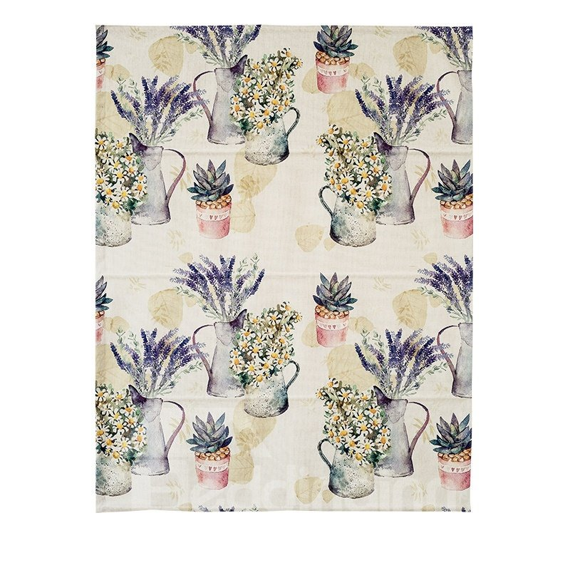 Country Style Colored Potted Plant Printing Flat-Shaped Roman Shades