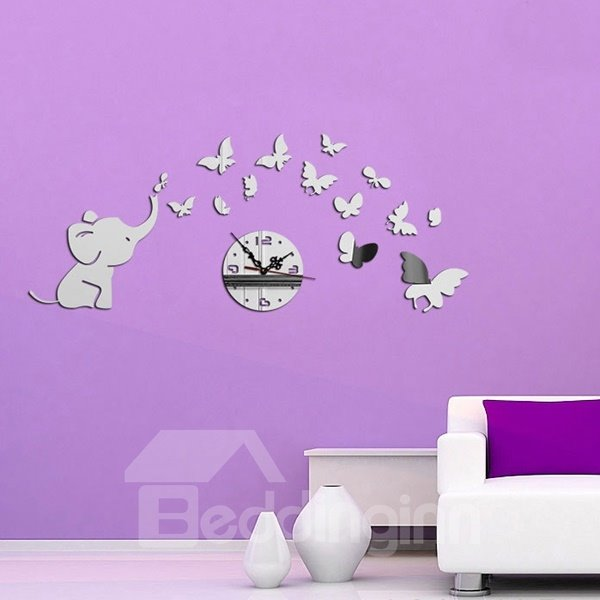 Lovely Cute Little Elephant and Butterfly Pattern Design Room Silent Wall Clock
