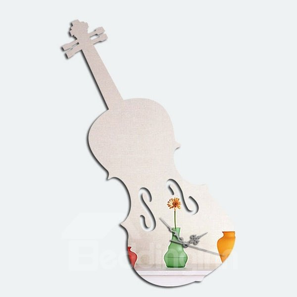 Wonderful Acrylic Mirror Room Silent Violin Pattern Decorative Wall Clock