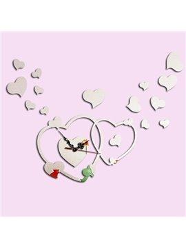 Romantic Acrylic DIY Cross Heart Pattern Design Room Silent Wall Clock